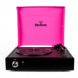 Vitrola Toca Discos Treasure - Pink / Black com software de gravação para MP3
